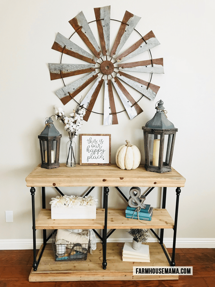Farmhouse Entryway: Check out how I decorated my entryway hallway with farmhouse style. Fall decor #farmhouse #farmhousedecor #farmhousefall #chipandjoannagaines #fixerupper #fixerupperstyle #falldecor #farmhouseentryway #potterybarn #mypotterybarn #homedecor