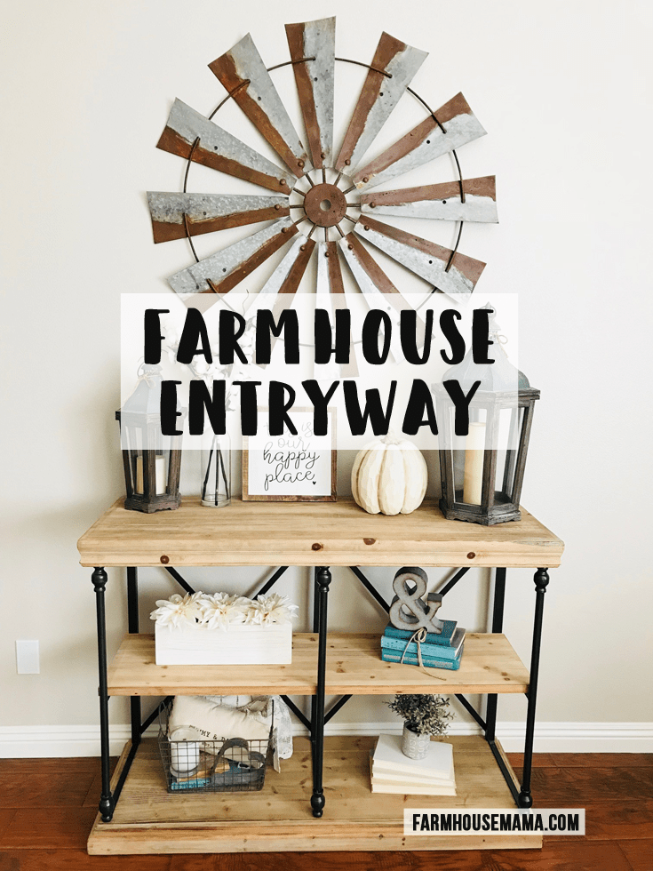 Farmhouse Entryway: Check out how I decorated my entryway in farmhouse and Fall decor! #farmhouse #farmhousedecor #farmhousefall #chipandjoannagaines #fixerupper #fixerupperstyle #falldecor #farmhouseentryway #potterybarn #mypotterybarn #homedecor